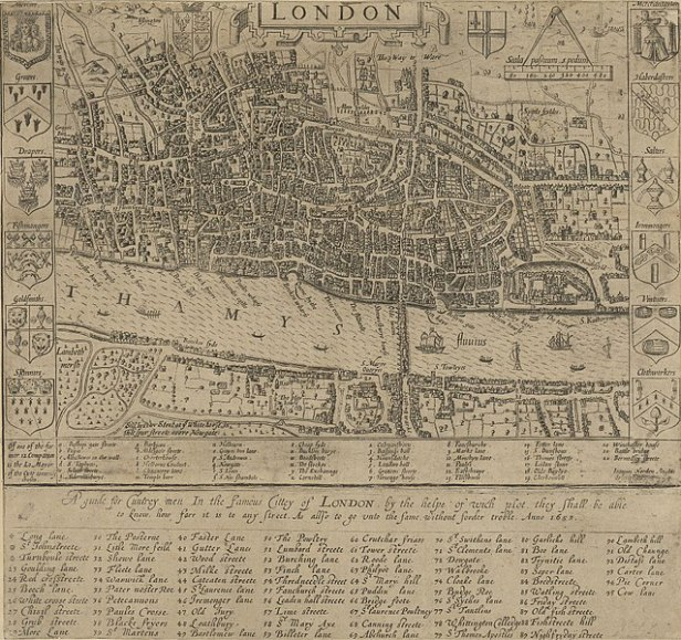 Norden's map of London in 1593