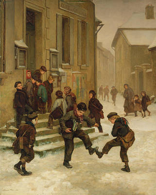 boys in snow - Charles Edouard Frere In Front of the School